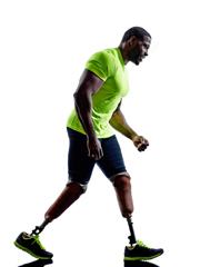 Alamy stock photo Man with two prosthetic legs